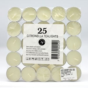 Citronella Tealights Candles 25pk