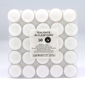 Clear Cup tealights 6hr 50pk