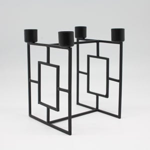 Metal 4 Dinner candle holder black