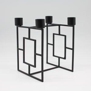 Metal 4 Dinner candle holder black