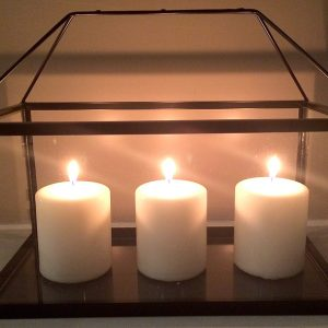 Box Lantern Rectangular Black with candles