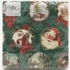 Santa ornaments on green background